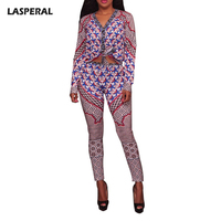 LASPERAL Fashion Sexy Women Two Piece Set Clothing V Neck Long Sleeve Printing Short Crop Top