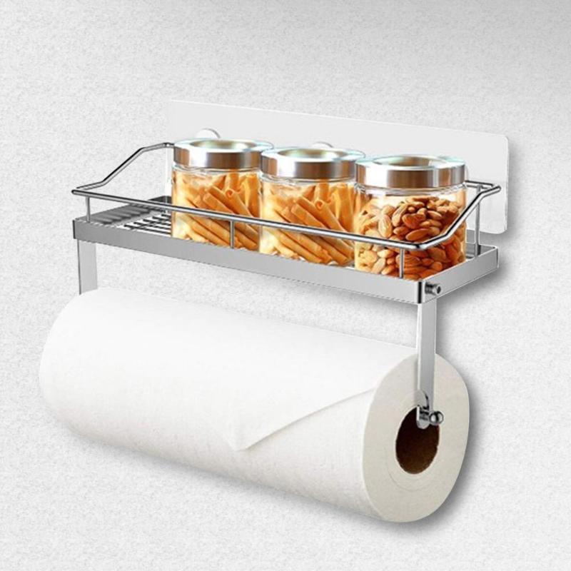 Adhesive Paper Towel Holder Shelf Stainless Steel Wall Mount Storage Basket Spice Rack Kitchen Organizer Toilet Paper Holder