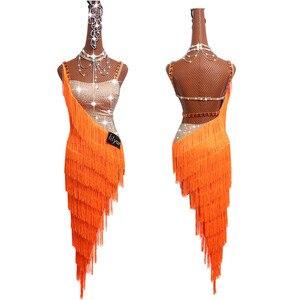 Image 2 - Женское платье для латиноамериканских танцев, роскошное платье на бретельках с бахромой и стразами, одежда для выступлений и соревнований