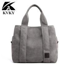 KVKY Brand New Arrival Canvas Handbag for Women Student School Teacher Fabric Leisure Top handle Bag for Teenager Big Tote Bag