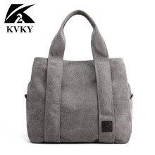 KVKY marka yeni varış kanvas çanta kadınlar için öğrenci okul öğretmeni kumaş eğlence en saplı çanta genç için büyük Tote çanta
