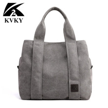 Kvky ブランド新到着キャンバスハンドバッグ女性の学生学校教師生地レジャートップハンドルバッグティーンエイジャーのためのビッグトートバッグ