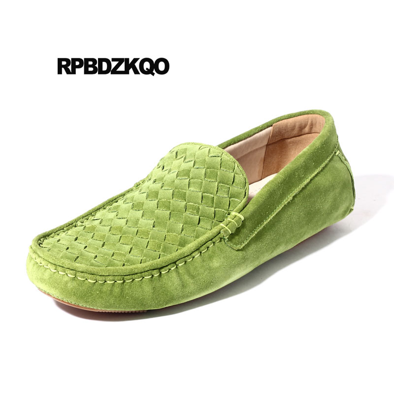 ec9767998e US $66.59 36% OFF Braided British Style Suede Nubuck Leather Shoes Men Slip  On Woven Genuine Loafers Driving Real Flats Moccasins Breathable Green-in  ...
