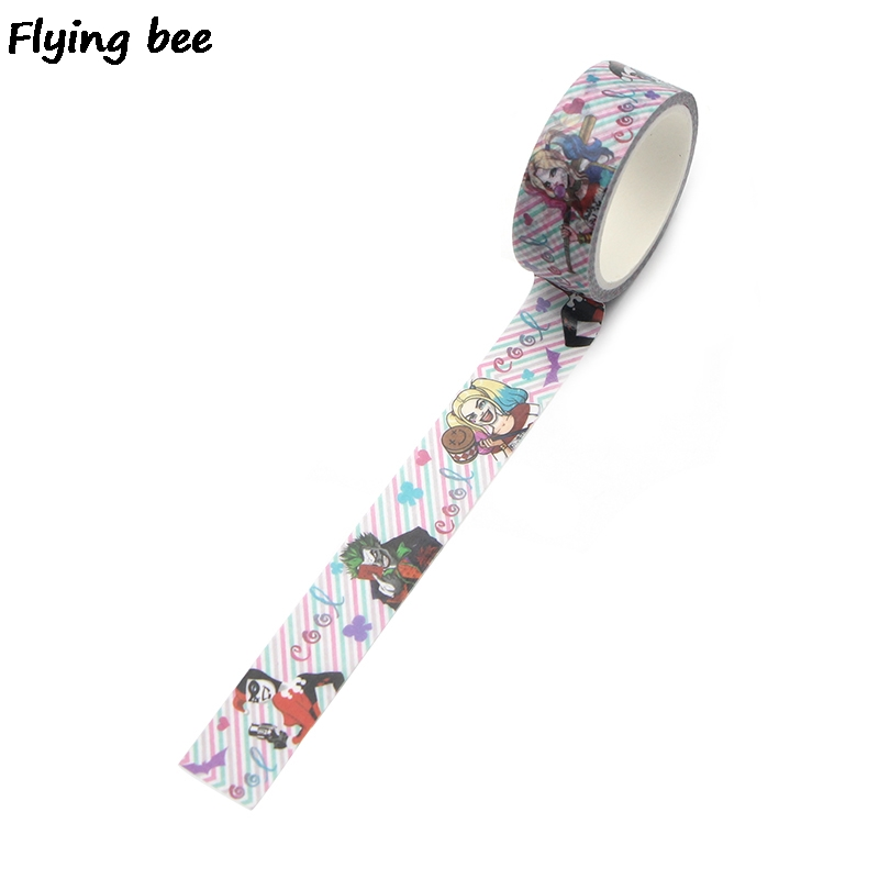 Flyingbee 15mmX5m Suicide Squad Harley quaid Washi Tape Paper DIY Decorative Adhesive Tape Kawaii Masking Tapes Supplies X0319 in Office Adhesive Tape from Office School Supplies