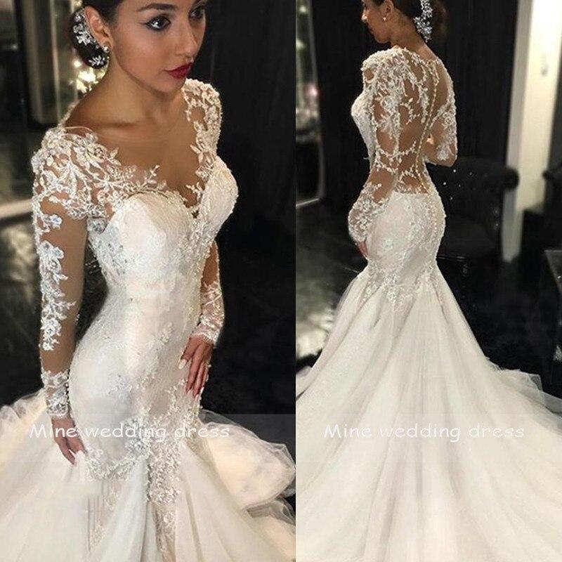 Robes de mariée sirène 2019 Robe de mariée Mariee Robe encolure dégagée dentelle appliqué Robe de mariée manches longues mariée