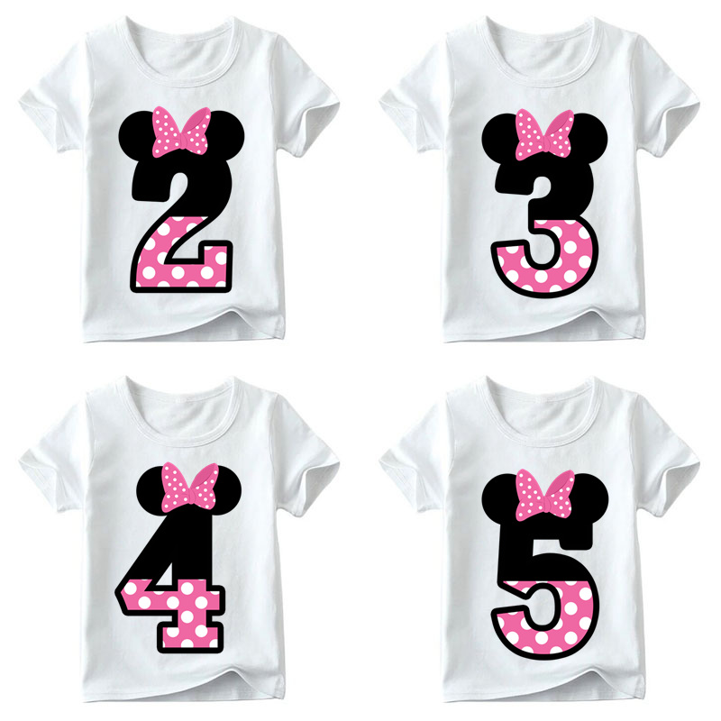 Baby Boys/Girls Happy Birthday Letter Bow Cute Print Clothes Children Funny T shirt,Kids Number 1-9 Birthday Present,HKP2416 cute kids baby girls embroidered my little black letter bow bodysuit jumpsuits
