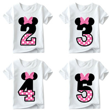 T-shirt Baby Girls Happy Birthday Letter Arch Cute Printed