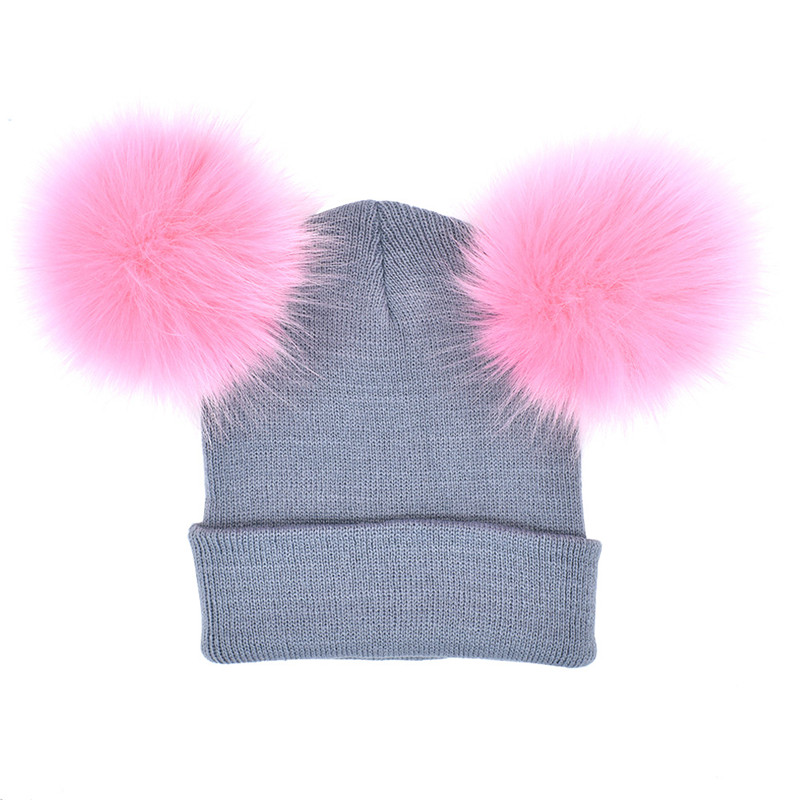 7a54993d ... Parent Child Winter Caps Faux Fur Pom Poms Hats For Women Knit Two Balls  Mother And ...