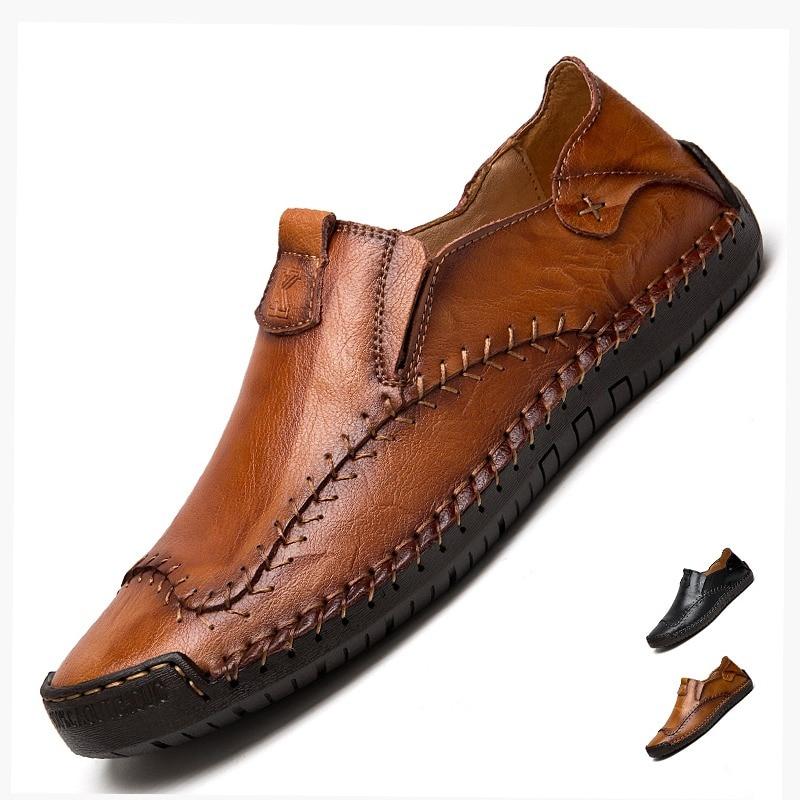 6d8f5de16950 Men s Driving Shoes 2019 Men Genuine Leather Loafers Shoes Fashion Handmade  Soft Breathable Moccasins Flats Slipe