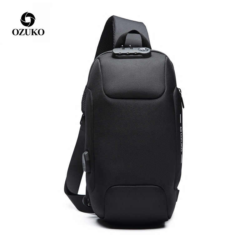 f4c634a19 Multifunction Crossbody Bags Men USB Charging Chest Pack Short Trip  Messengers Chest Bag Water Repellent Shoulder