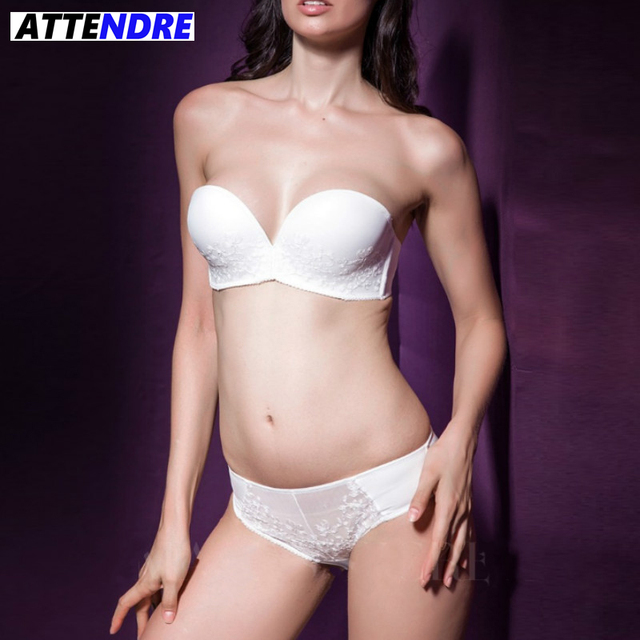 83d9305f216 ATTENDRE Strappy Intimates Embroidery Balconette Womens bras and underwear  sets Wedding Corset Bridal Strapless half cup bra