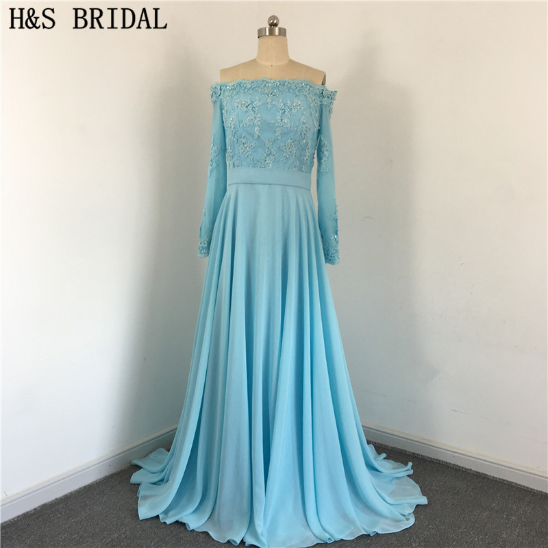 Blue Elegant Chiffon Back With Buttons Draped Beaded Off Shoulder Long Sleeve Lace sexy   bridesmaid     dresses