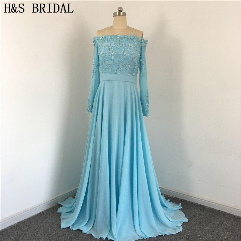 Dos en mousseline de soie bleu élégant avec des boutons drapés perlés épaule dénudée manches longues dentelle sexy robes de demoiselle d'honneur