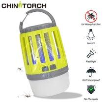 LED خيمة مصباح 2 in 1 علة Zapper مصباح USB فانوس تخييم يمكن إعادة شحنه المحمولة مقاوم للماء قاتل الماموس الكهربائي القاتل LED فانوس