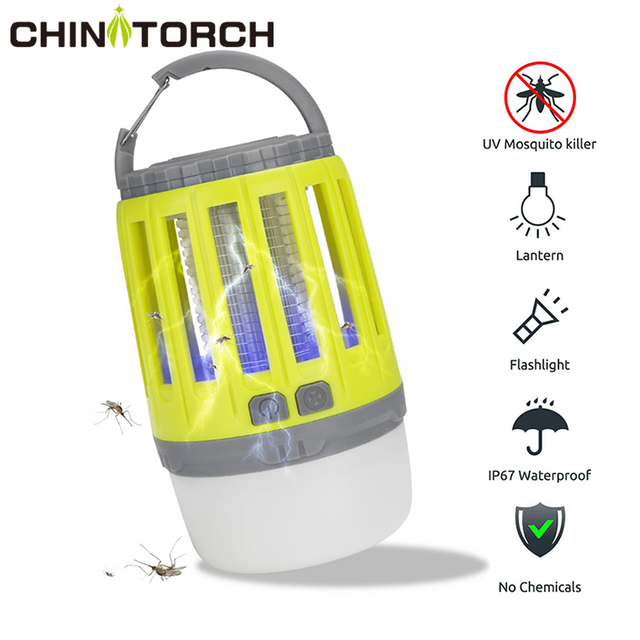 LED Tent Lamp 2 in 1 Bug Zapper Lamp USB Rechargeable Camping Lantern Portable Waterproof Electric Mosquito Killer LED Lantern