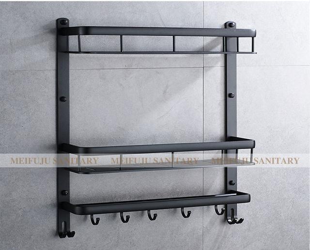 Online shop meifuju nuovo scaffale del bagno di alluminio oro nero