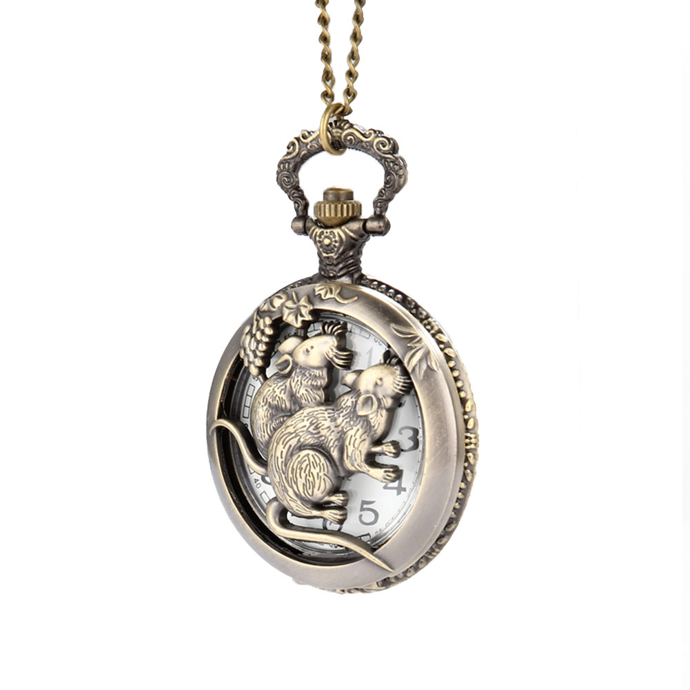 Useful Vintage Chinese Zodiac Monkey Quartz Pocket Watch Necklace Pendant Chain Clock For Women Men Gifts Ll@17 Watches