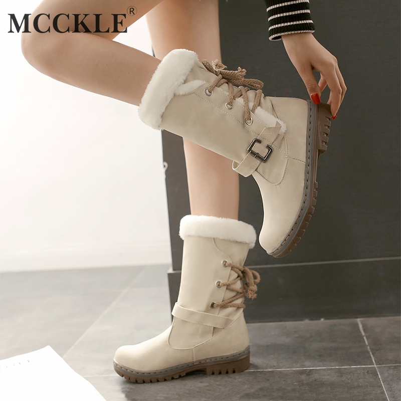 MCCKLE Plus Size Snow Boots Faux Fur Women Boot Low Heel Winter Shoes Lace Up Platform Casual Woman Mid Calf Botas Footwear women high heel half short boots thickened fur warm winter plush mid calf snow boot woman botas footwear shoes p21994 size 34 39