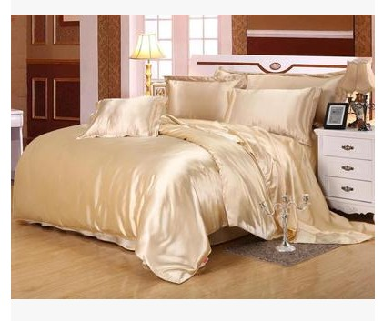 silk bedding set satin california king size queen full double duvet cover camel tan fitted bed - California King Bed Sheets