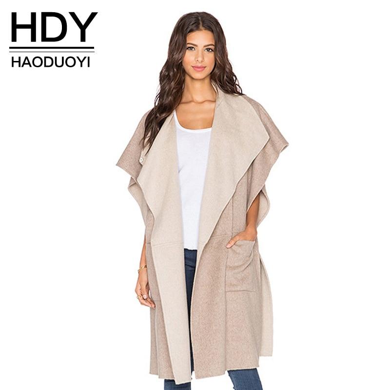 HDY Haoduoyi 2019 Fashion Elegant Women   Trench   Coat Ruffle Short Sleeve Pockets Outwears Winter Casual Slim Female   Trench   Coat
