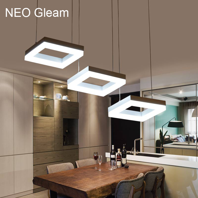 NEO Gleam Modern led pendant lights for dining room living room Acrylic Aluminum Rectangle led pendant lamp fixtures AC85-265V a1 master bedroom living room lamp crystal pendant lights dining room lamp european style dual use fashion pendant lamps