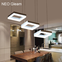 NEO Gleam Modern led pendant lights for dining room living room Acrylic Aluminum Rectangle led pendant lamp fixtures AC85-265V