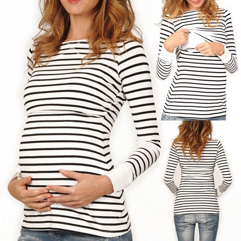 2018 Frauen Mutterschaft Stillen T-shirt Pflege Tops Gestreiften Langarm T Shirt Modische Und Attraktive Pakete