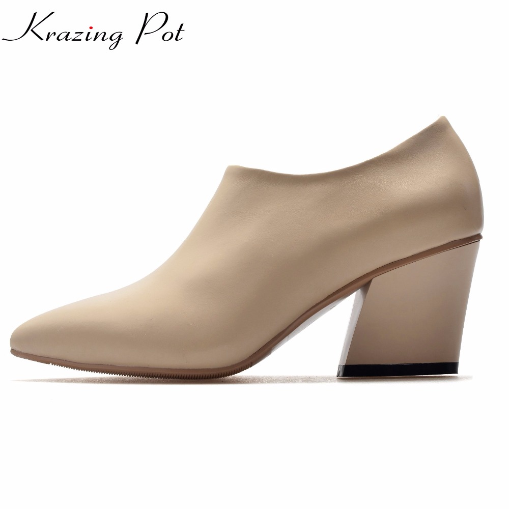 Krazing Pot 2018 brand shoes genuine leather thick high heels shoes women winter autumn nude pumps mature high quality shoes L13 krazing pot genuine leather original design thick med heels shallow women nude concise pumps pointed toe solid brand shoes l11