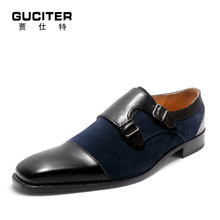 Guciter manual Goodyear welted mens shoes handemade Oxford shoe blake craft Calfskin Leather and Cow Suede