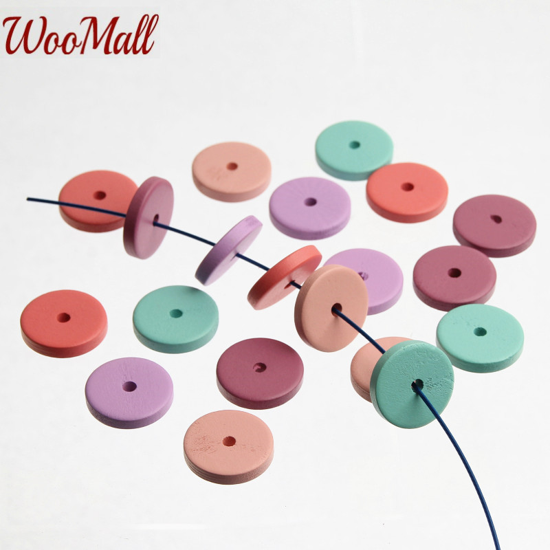 100Pcs Wood Teething Beads Round Baby Style Wooden Beads Baby Teethers Toss Games For DIY Kids Toys & Pacifier Clip Jewelry DIY