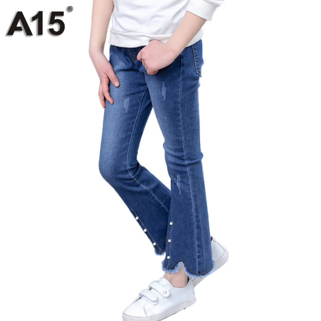 19b003a4ff3d A15 Brand Girl Jeans Spring 2018 Children Ripped Jeans for Girls Kids  Fashion Jeans Pants Trousers