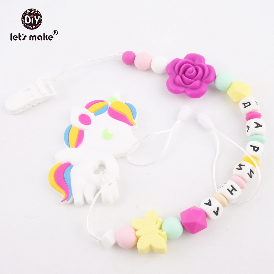 Let's Make 1pc Personal Custom Personalized Pacifier Clip Chain Silicone Unicorn Pendant Baby Teething Nursing Dummy Clips Chain