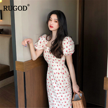 RUGOD 2019 New Arrival Women Dress Square Collar Puff Sleeves Tunic Cherry Print платье Vintage Modis Mujer Vestidos