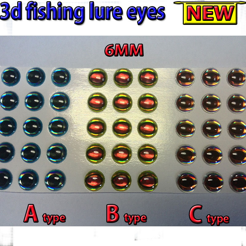 2015NEW fishing 3d lure eyes  A 200pcs +B +C 3MM--6MM total :600pcs/lot fly