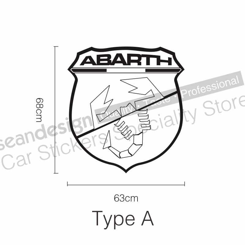 For Fiat Abarth Punto 500 Panda Bravo Decal Sticker Pvcblackwhite