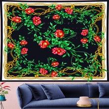 Макраме в скандинавском стиле гобелен виде Розы ретро с красными