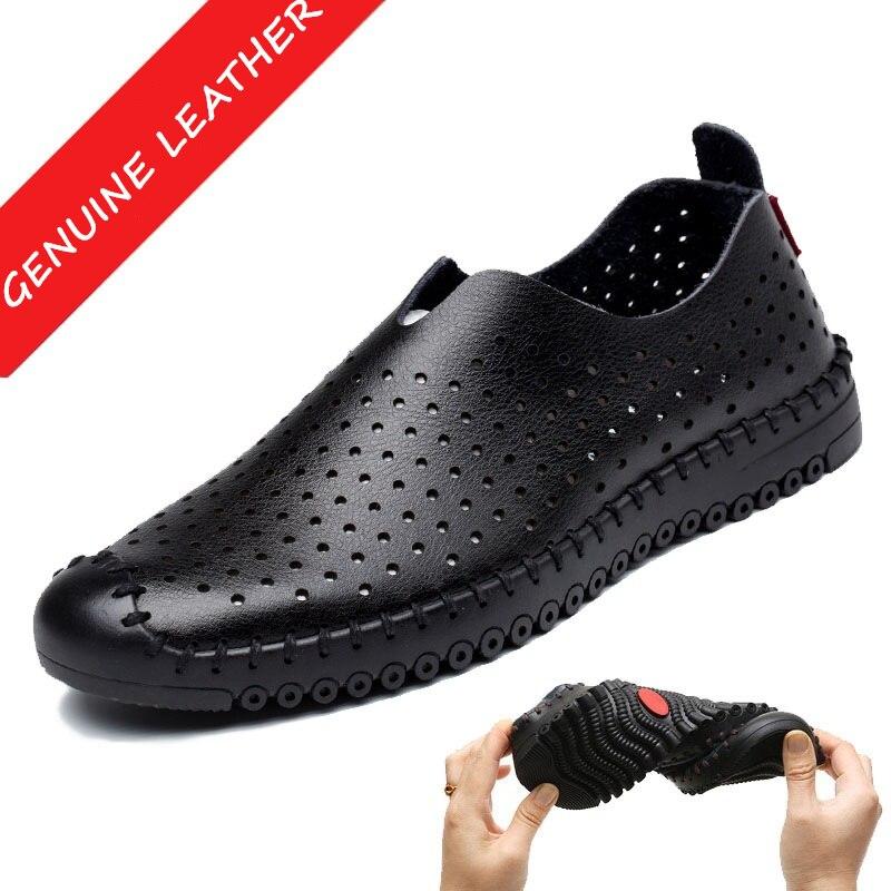 Verano Zapatos de Cuero Genuino de Los Hombres Huecos Respirables Slip-en Los Za