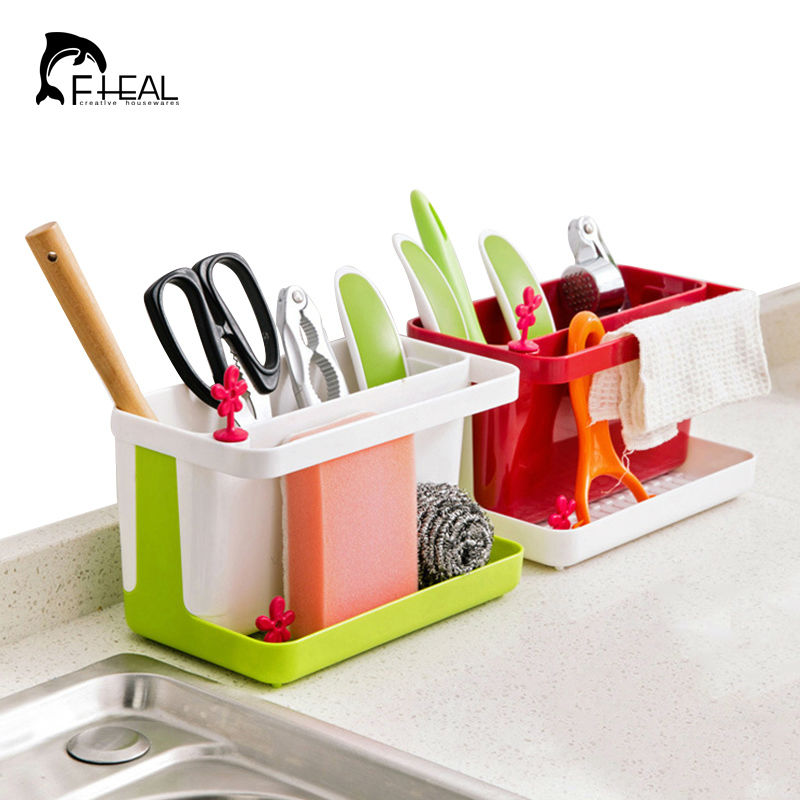 Fheal kitchen draining storage rack sink sponge cleaning for Bathroom utensils