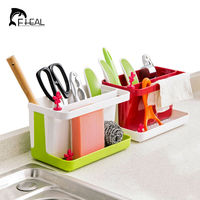 FHEAL Kitchen Draining Storage Rack Sink Sponge Cleaning Brush Towel Holder Utensils Storage Shelf Bathroom Organizer