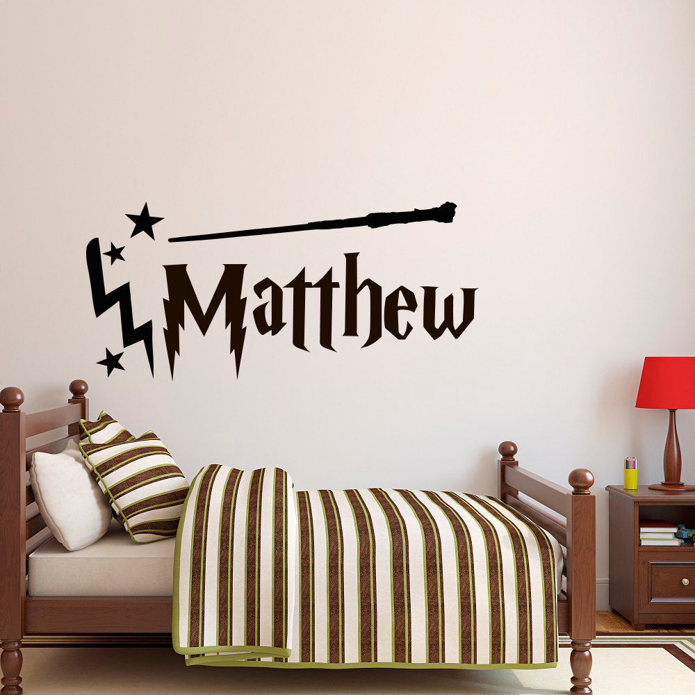 Harry potter wand vinyl wall stickers custom name colour decal decor nursery wall decal removable wallpaper hot sale mural sa307