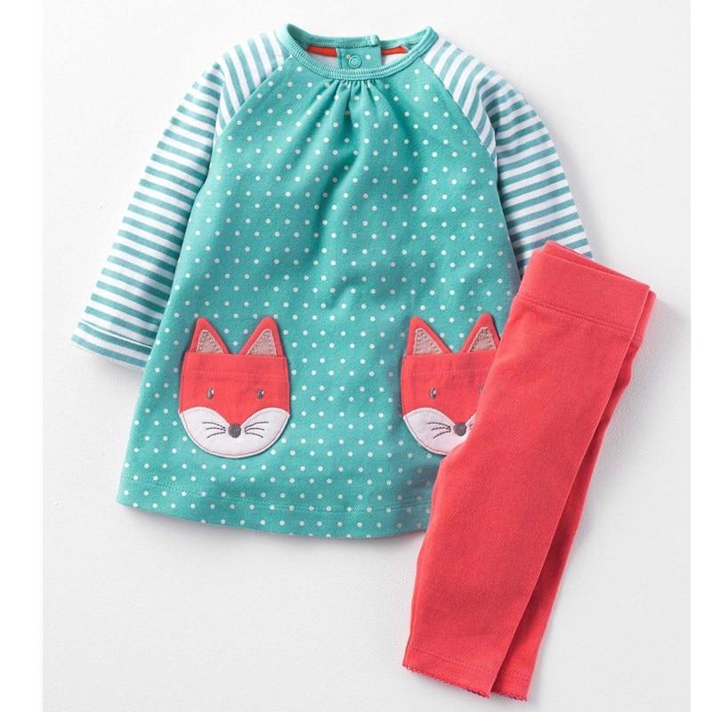 Neonate Vestiti Dei Bambini Che Coprono Gli Insiemi 2017 Bambini di Marca Tute per Le Ragazze Imposta Modello Animale Del Bambino Della Ragazza Scuola Outfits