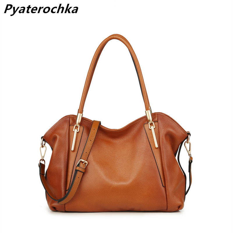 Pyaterochka New 2018 Genuine Leather Handbag for Women High Quality Luxury Shoulder Bags Ladies Business Satchels Brown Tote Bag real genuine leather women handbag tote bag casual style ladies satchels shoulder bags wholesale price 2018 new purse