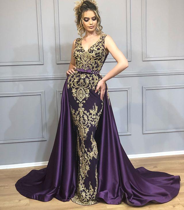 Longue dentelle pourpre sirène col en v arabe robe de soirée 2019 caftan Dubai robes de soirée formelles avec jupe détachable