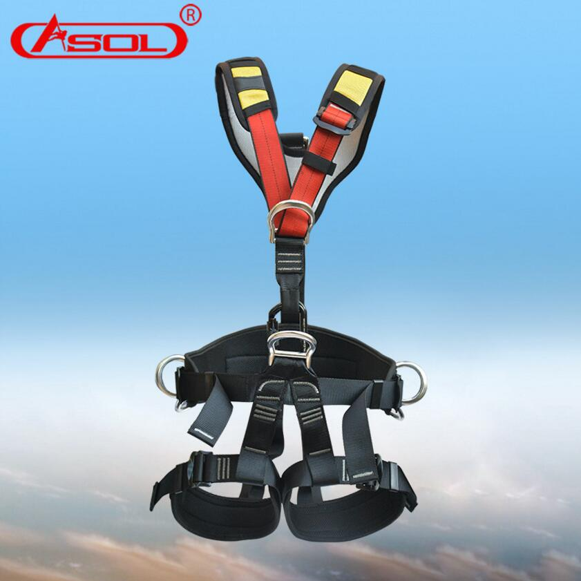 Brand ASOL Whole Body Rock Climbing prompt drop Safety Belts Outdoor Sport Hiking Camping Mountaineer safety belt tools adjustable pro safety equestrian horse riding vest eva padded body protector s m l xl xxl for men kids women camping hiking