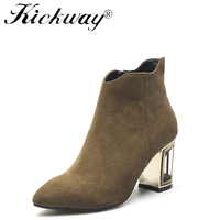 Kickway 2017 High quality genuine leather boots strange style heels autumn winter ankle boots sexy Crystal boots shoes women 43