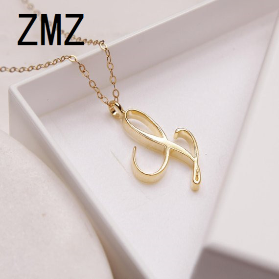 ZMZ 2018 Europe/US fashion English letter pendant lovely letter L text necklace gift for mom/girlfriend party jewelry letra g bem bonita