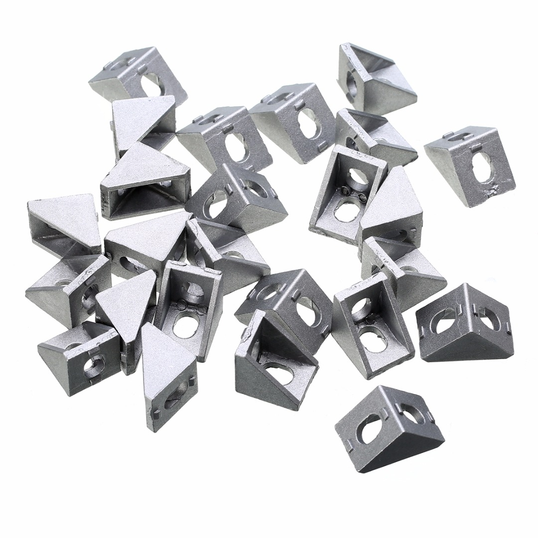 цены 25pcs Silver 2020 Corner Bracket Set Solid Cast Aluminum 20x20x17mm For 20mm Extrusion CNC Routers