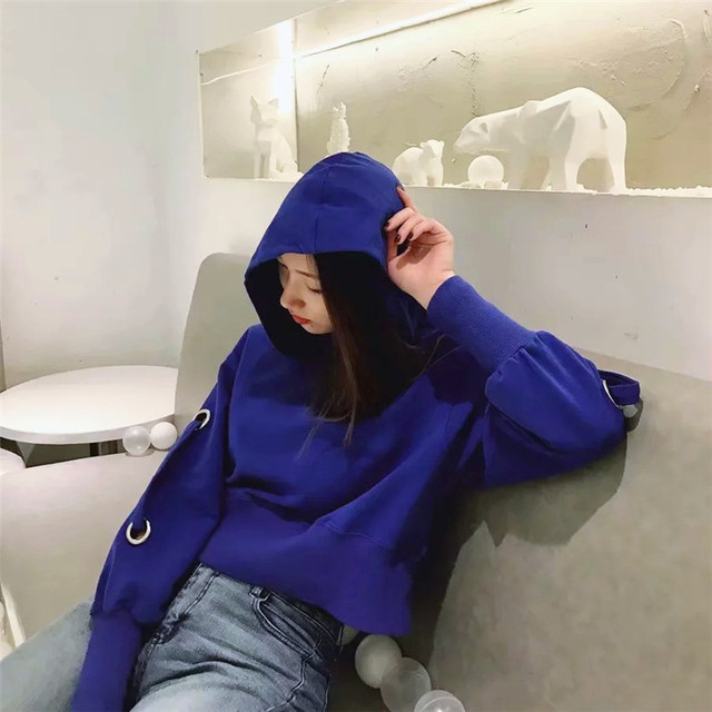 Autumn cool women blue loose sports hoodie Knitted Blow hole long sleeve Crop Sweatshirt jumpers pullovers femme