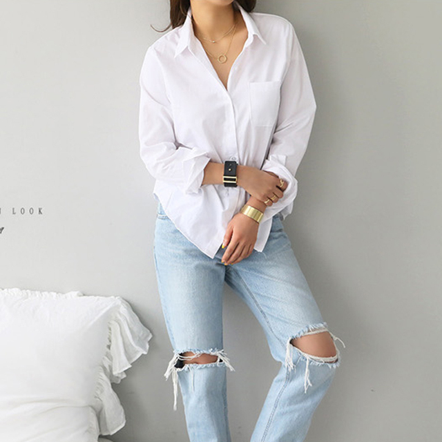 2019 Spring One Pocket Women White Shirt Female Blouse Tops Long Sleeve Casual Turn-down Collar OL Style Women Loose Blouses 4