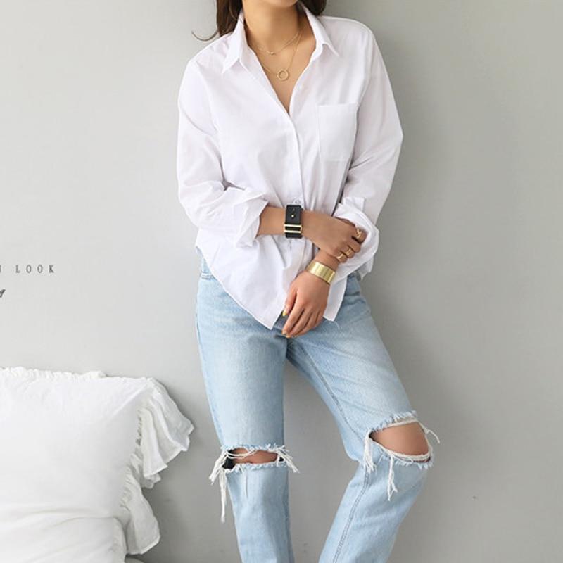 Spring One Pocket Women White Shirt Female Blouse Tops Long Sleeve 11